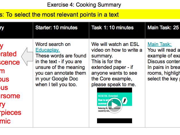 IGCSE ESL Summary Writing