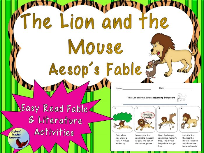 The Lion and the Mouse Aesop's Fable Reading and Comprehension Activities