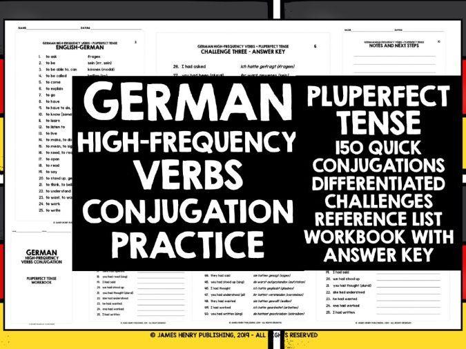GERMAN PLUPERFECT TENSE CONJUGATION PRACTICE