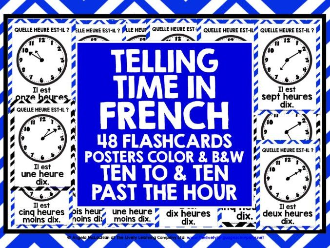 ELEMENTARY FRENCH TELLING TIME TEN TO AND PAST FLASHCARDS