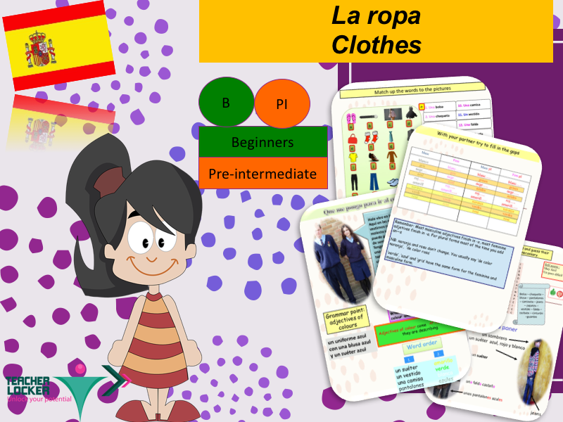 Clothes and Colours in Spanish (lesson + Activities) / La ropa y los colores