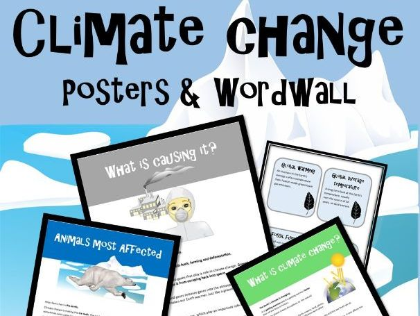 Climate Change Posters & Wordwall, Project Based Learning, KS1, NGSS