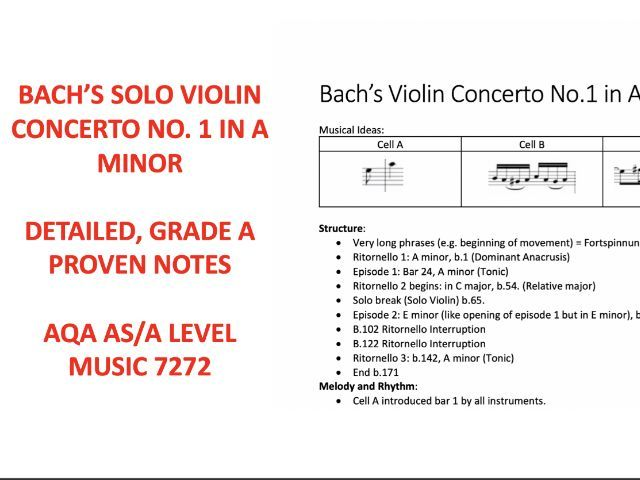 Bach -  Violin Concerto No 1 in A minor Notes AS LEVEL Music