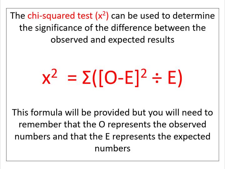 Chi-squared test (AQA A-level Biology)