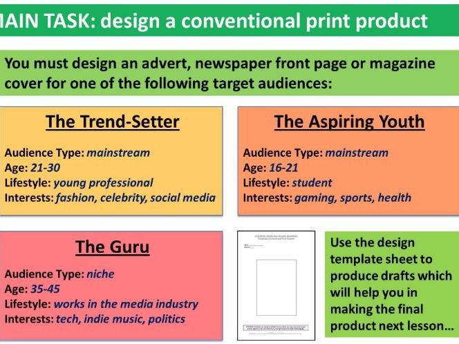9-1 GCSE Media Studies Key Concepts lessons 18-21: Conventional Print Products practical task