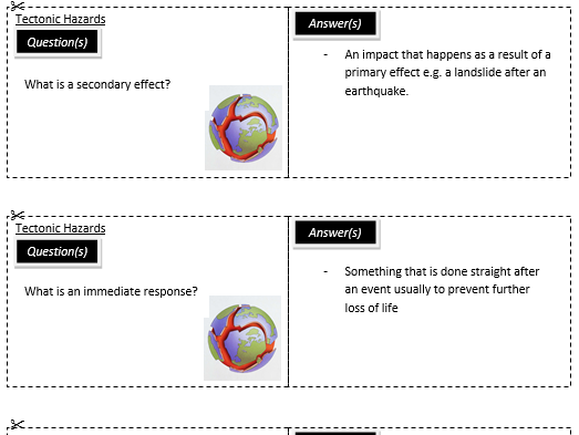 New AQA Tectonics revision cards