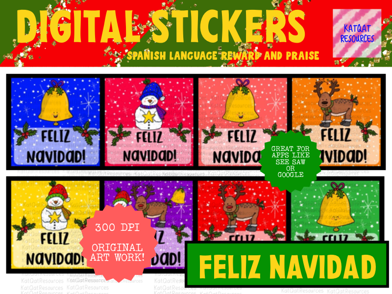 Spanish Digital Stickers - Cute Christmas Feliz Navidad - Seesaw etc