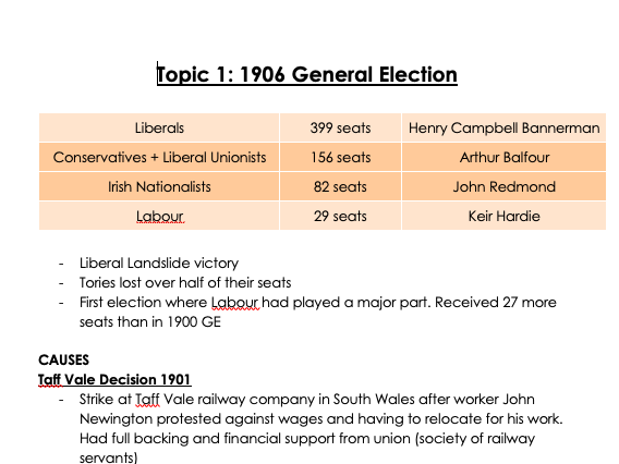 History A-Level AQA Making of Modern Britain; part 1