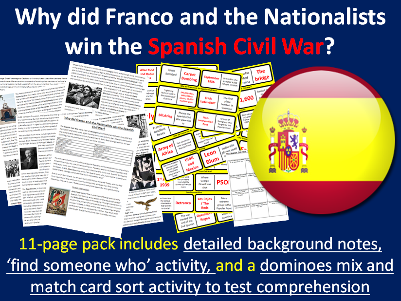 Why did Franco win the Spanish Civil War? - 11-page full lesson (notes, domino task, plenary)