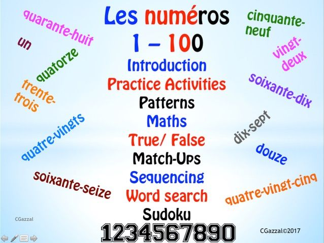 French Numbers, Les numéros  1 – 100.