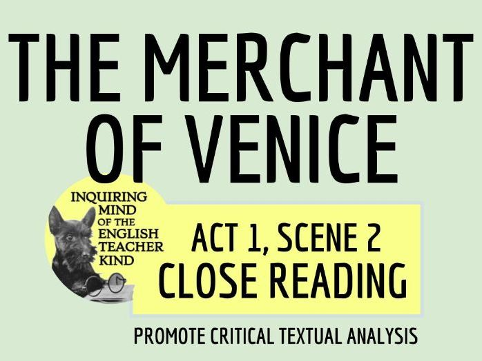 Shakespeare's The Merchant of Venice Close Reading for Act 1, Scene 2