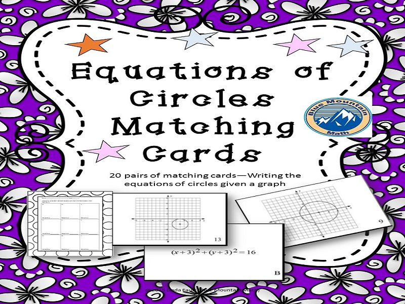 Equations of Circles Matching Card Set
