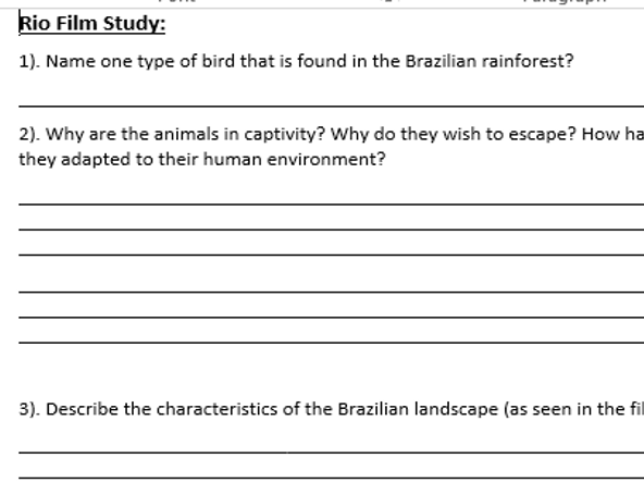 Rio (Film) Geography Case Study Sheet