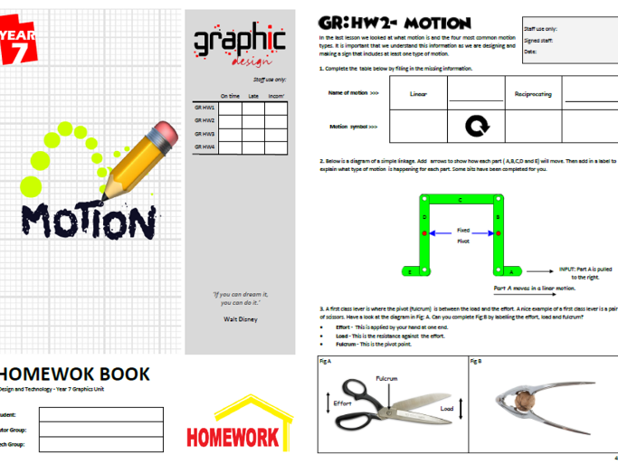Motion Homework booklet