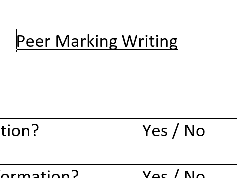 GCSE English 9-1 (2016) Peer Marking Checklists