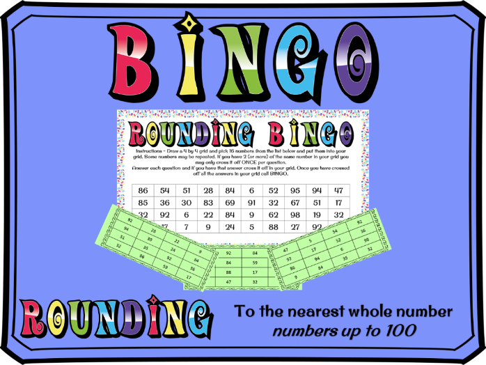 Rounding to the nearest whole number BINGO (numbers to 100)