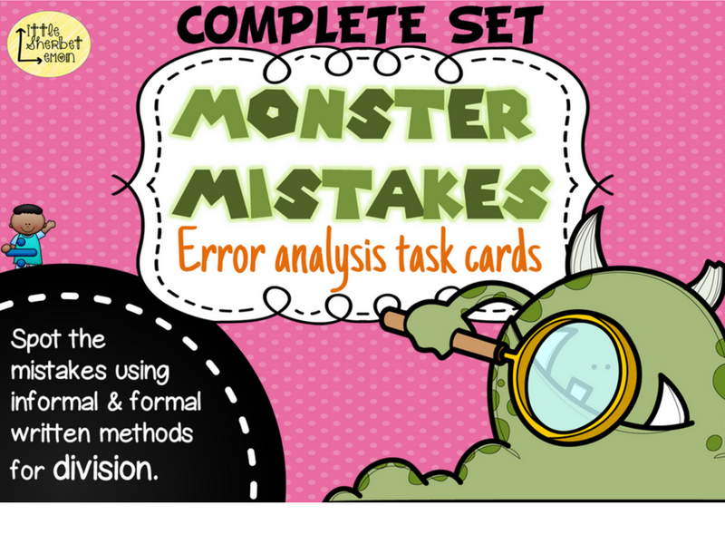Error Analysis / Spot the Mistake Task Cards for Written Division Methods COMPLETE SET