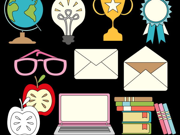 Back to school special clipart (notebook, envelope, globe, books, bulb, apple)