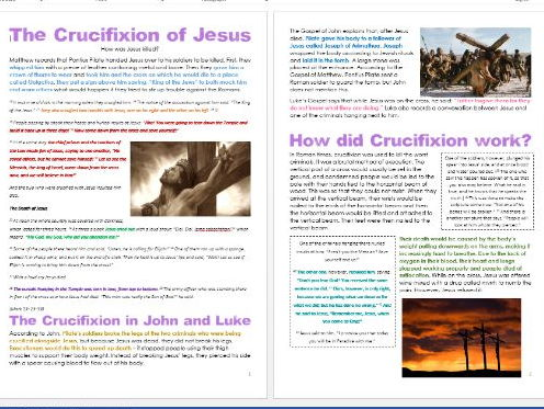 Jesus in Jerusalem: The Crucifixion of Jesus: Differentiated Activity Sheets