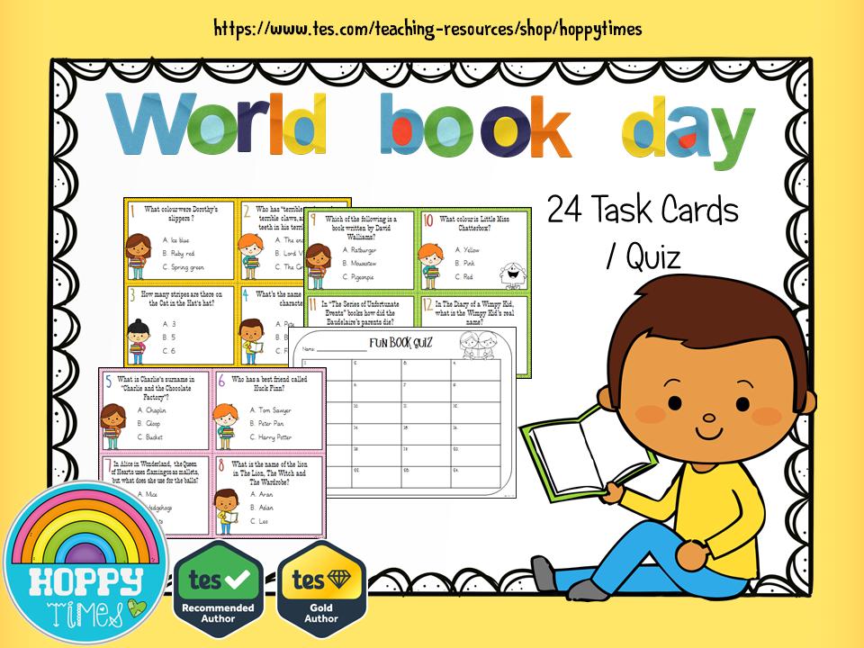 WORLD BOOK DAY  Quiz /  Task Cards
