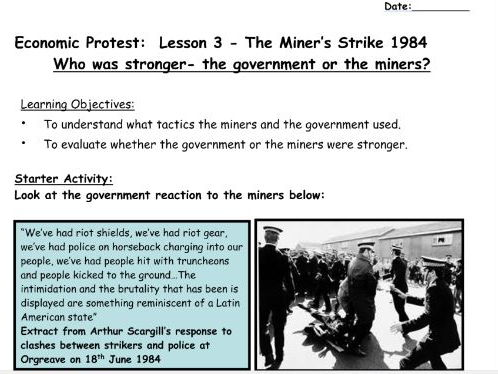 The Miner's Strike 1984 Who was stronger- the government or the miners?