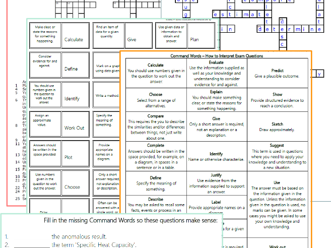 AQA Science Command Word Activity Pack (New 2018 GCSE spec)