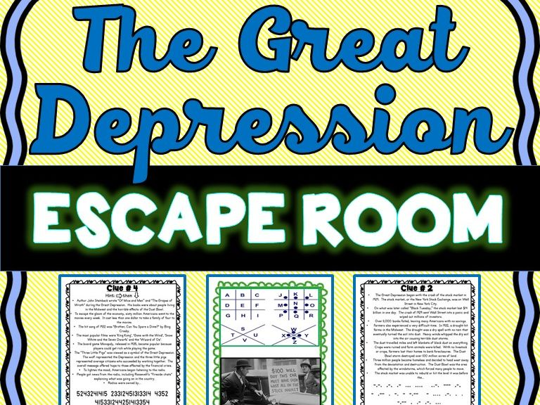 Great Depression ESCAPE ROOM: Dust Bowl, Roaring Twenties, Stock Market