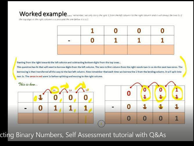 Subtracting Binary Numbers, Self Assessment tutorial with Q&As