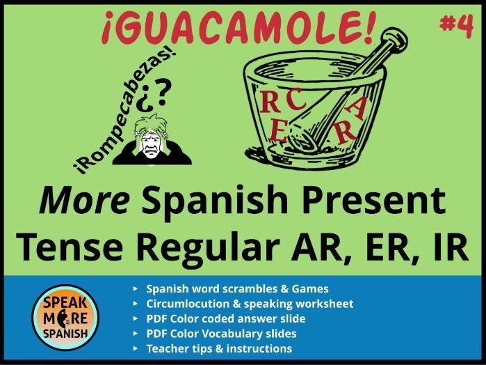 Spanish Puzzles & Games *More Regular Present Verbs AR,ER,IR *Juegos ...