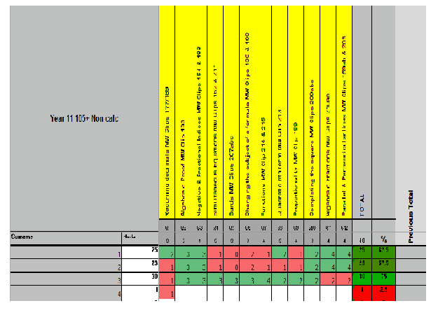 Year 6 tracker spreadsheet