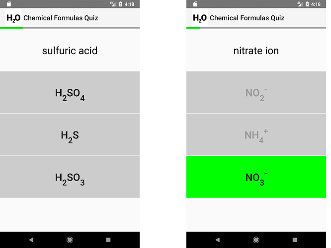 Chemical Formulas Quiz for Android and iOS by mdillen