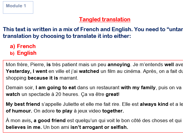 Tangled Translations GCSE French Module 1 (Answers Included!) Studio
