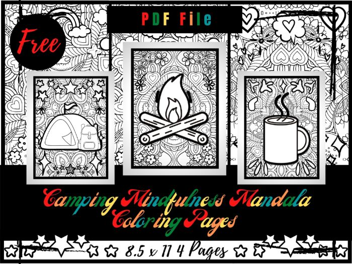 FREE Mindfulness Camping Colouring Pages, Free Camping Printable Colouring Sheets PDF