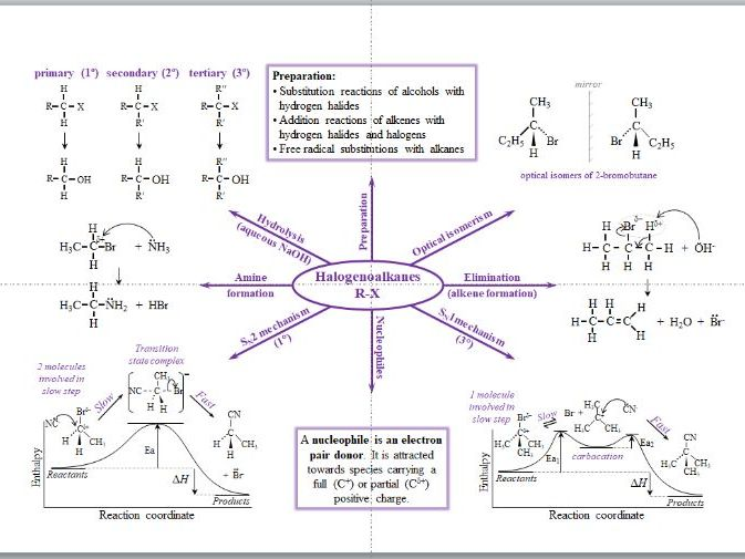Halogenoalkanes Mind Map - A Level Chemistry