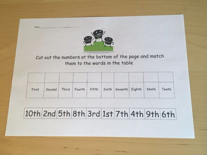 Ordinal Numbers and Words Matching Cut and Stick