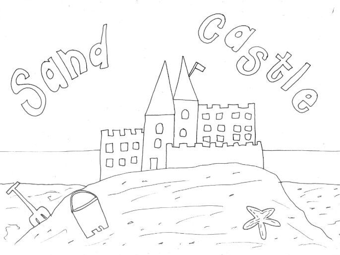 Sand Castle Colouring Page