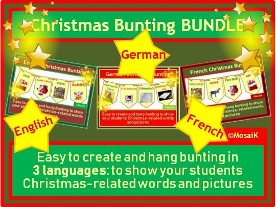 English, German, French: Christmas Bunting BUNDLE