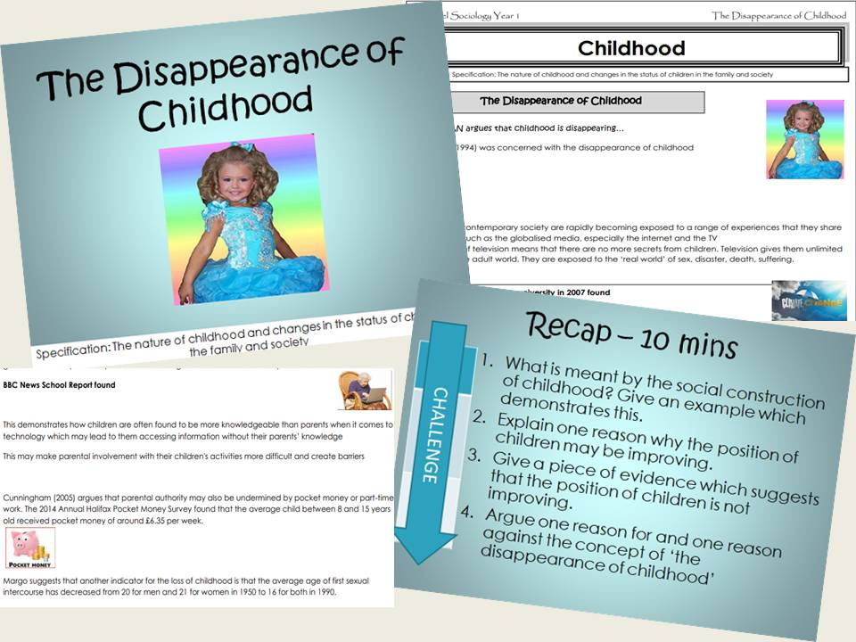 AQA Sociology - Year 1- Families & Households - The Disappearance of Childhood