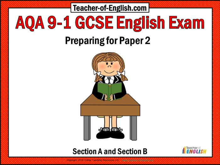 AQA 9-1 GCSE English Exam - Preparing for Paper 2 (PowerPoint and worksheets)