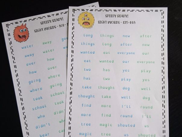 Second 100 High Frequency Sight Words Fluency Practice