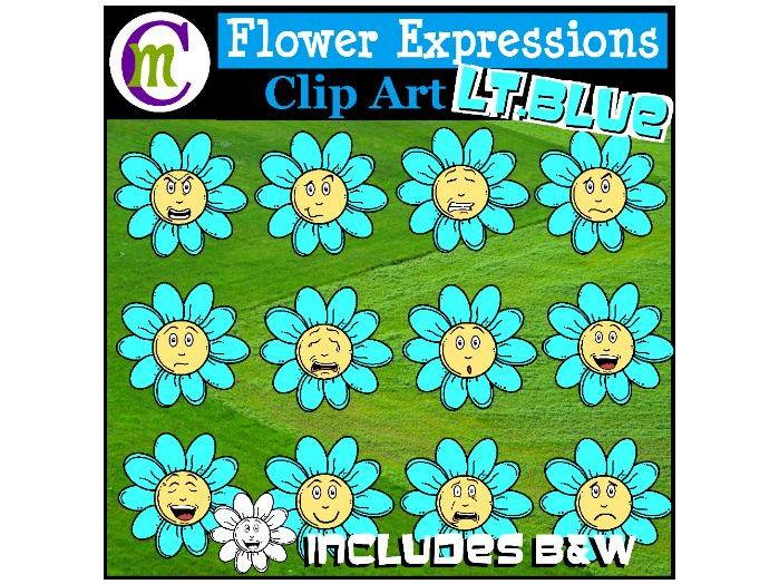 Flower Emotions Clipart | Light Blue Flowers Clip Art