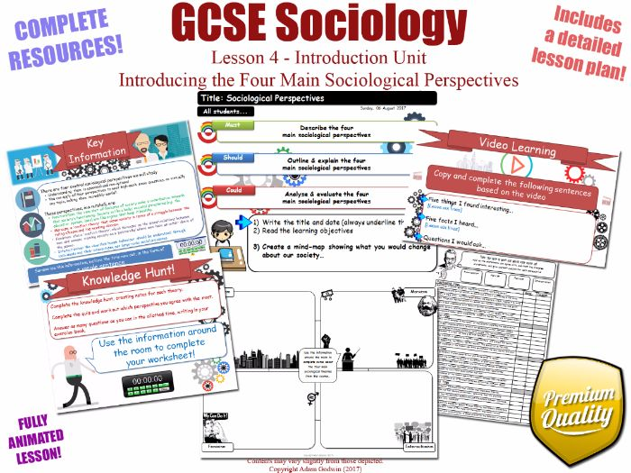 Introducing the Four Sociological Perspectives - Introduction Unit L4/12 - GCSE Sociology