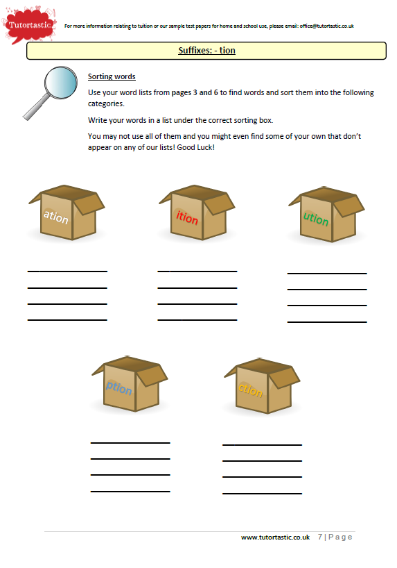 Year 6 Spelling: Suffixes Worksheet Booklet