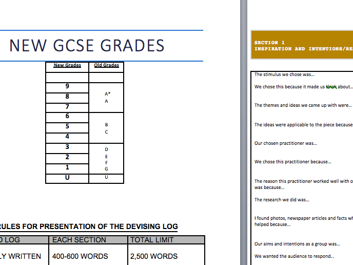 New Spec GCSE Log book template