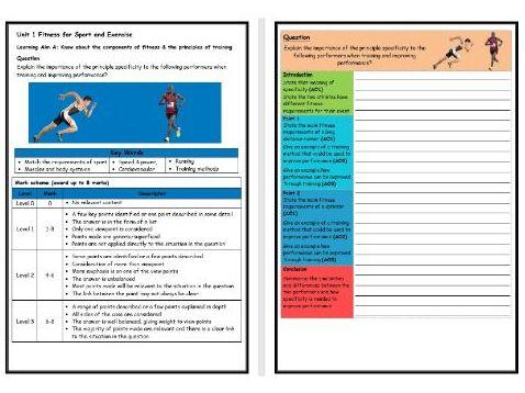 BTEC Sport (Level 2)- Unit 1 – Principles of Training 2 Structure Strip (Long Answer Question)