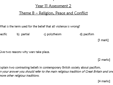 RE GCSE AQA Religion Peace and Conflict End of Unit Assessment