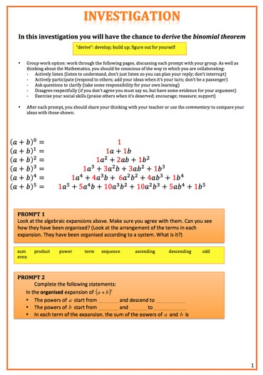Binomial Theorem Investigation with Commentary (Answers and Notes)