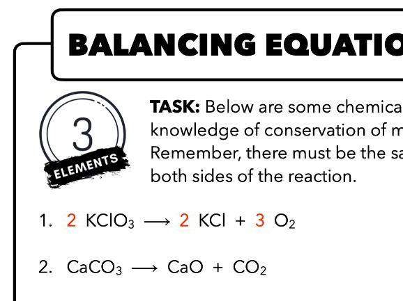 Balancing Equations Differentiated (KS3 & GCSE)