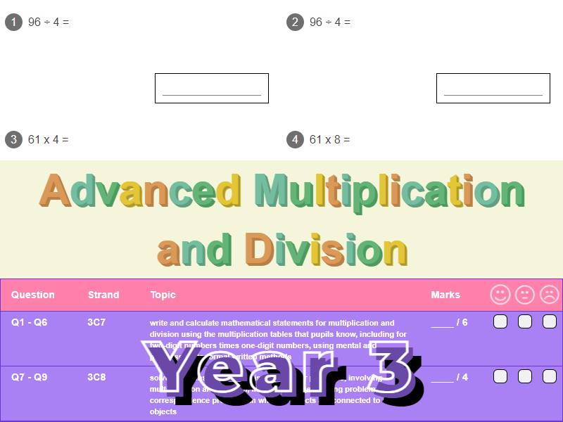Advanced Multiplication and Division Worksheet + Answers (KS2 - Year 3)