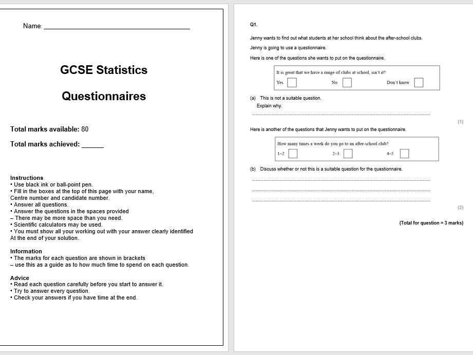 Questionnaires Exam Questions (GCSE Statistics)